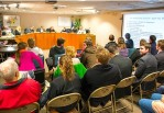 Students from the College of St. Benedict and St. John's University attending the St. Joseph City Council chamber on April 18. (Photo courtesy of Reed Osell/ The Record)